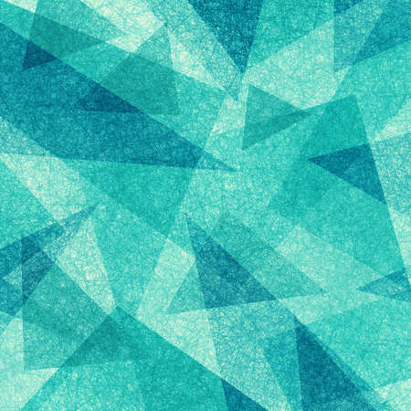 abstract blue green background with random transparent triangle pattern and grainy scratch parchment texture