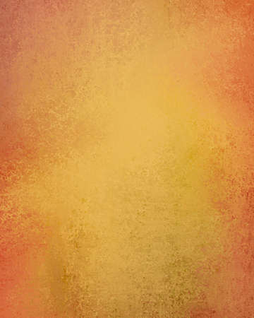 yellow gold background color with peach orange textured border, old distressed grunge texture or sponged paint design illustration Stock Photo
