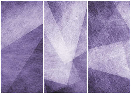 diagonal stripes: matching graphic art side bars headers or footers in abstract purple and white geometric angles patterns Stock Photo