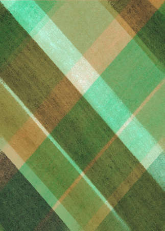diagonal stripes: angled plaid striped background in green brown and orange colors