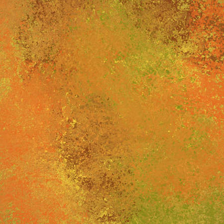 abstract warm orange red gold and green background with smeary paint spatter and peeling rust metal design