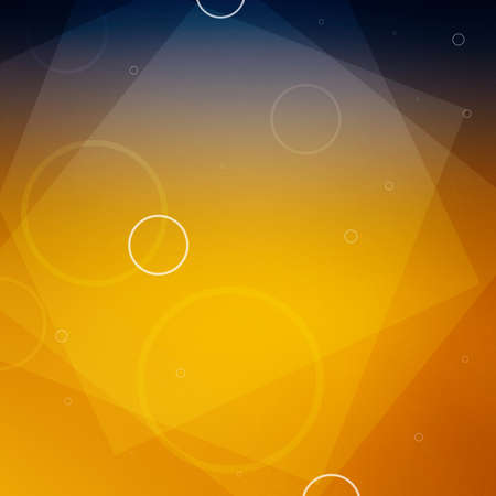 abstract deep blue and orange gold background with layers of squares and yellow circles in a modern business template design Banco de Imagens - 122101075