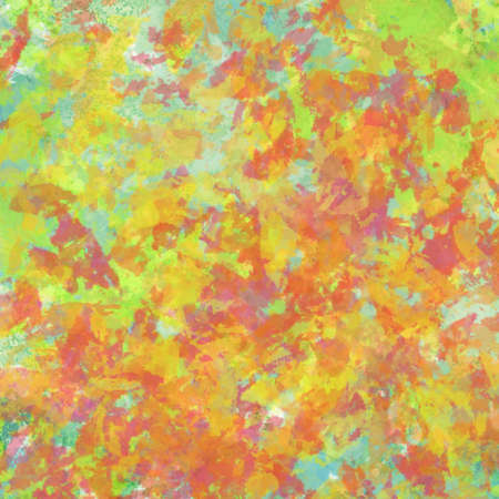 abstract autumn leaves painted background design with thick paint texture, warm fall colors of red orange and yellow on blue sky in seasonal colorful illustration