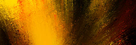 abstract background in black with bright orange yellow and red paint in color splash design, colorful explosion or dramatic brush strokes in modern abstract art style banner