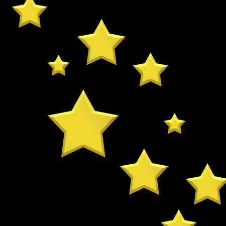 Gold stars on black background showing success or a winning achievement, glamorous superstar fame design, product ranking symbol or award for quality performance Reklamní fotografie