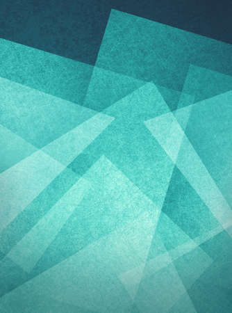 blue green and white geometric abstract background with blocks, squares, diamonds, rectangle and triangle shapes layered in modern art style pattern, textured background