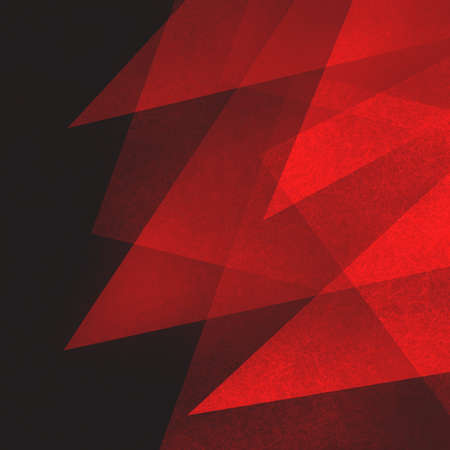Abstract red and black background with texture and triangle shapes layered in modern art style geometric pattern