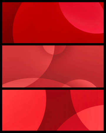 Set of red modern banner designs on black background in minimal illustrations of circle shapes in red and pink colors for website headers, cards, tags, labels or ad brochure  版權商用圖片