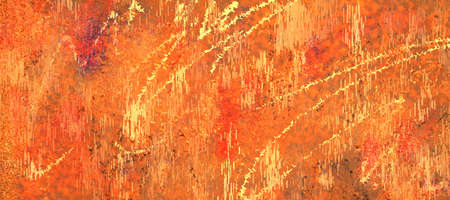 Distressed orange red brown and yellow abstract background design with scratched texture and marker lines in aged old painted surface