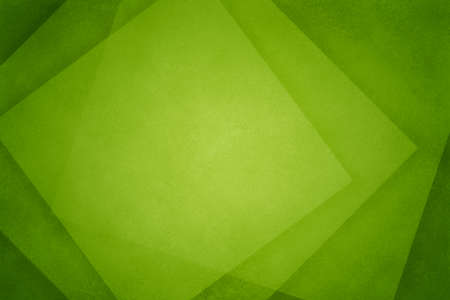 Green abstract background with geometric square paper shapes in transparent texture layers and modern business design, elegant green material pattern with angles and diamond blocks frame with blank copy space and no people