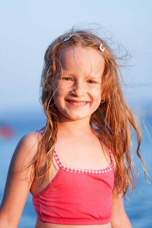 Happines little girl portrait photo