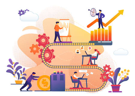 Business Process of Success Archievement Metaphor. Tiny People Working Together on Conveyor Belt with Cogwheels. Investment, Information Analysing, Target. Grow Arrow. Cartoon Flat Vector Illustration Stock Illustratie