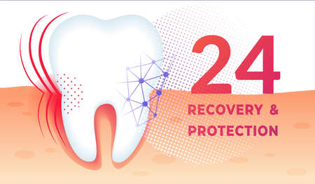 Teeth Care Poster with Huge Healthy Tooth in Gum. Professional Dentistry, Oral Dental Preventive Hygiene. Health Promo Ad Flyer. 24 Hours Recovery and Protection Horizontal Banner. Vector Illustration Illustration