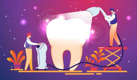 De minuscules dentistes mettent un plombage photopolymérisable sur une dent énorme. Homme tenant un équipement avec éclairage. Guy Configurer les options sur l'ordinateur. Les dentistes travaillent pour porter des dents. Illustration vectorielle plane de dessin animé.