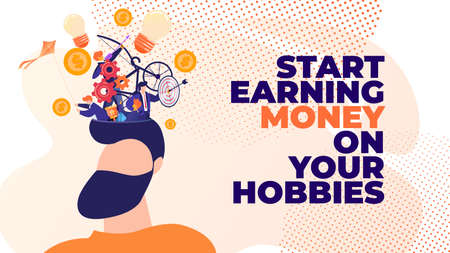 Flat Banner Start Earning Money on Your Hobbies. Vector Illustration on Pink Background. Foreground Man with Beard Over Head, Different Thoughts Ideas, Goals and Plans for their Implementation.