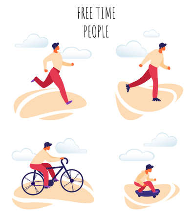 Flat Vector Illustration Free Time Happy People. Set Young Man in Sportswear Makes Run in Morning. Boy Rollerblading, Teenager Riding Road Bike on Background White Clouds Teenager Riding Skateboard.
