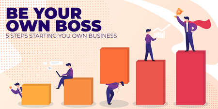Flat Banner Be Your Own Boss on Pink Background. Vector Illustration 5 Steps Starting You Own Business. Career Growth Successful Man and Change According to Progress Towards Target. Illustration