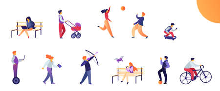 Set Activities for Young People in Everyday Life. Flat Vector Illustration on White Background. Girl Sits on Bench with Laptop and Launches Drone. Guy Rides Bike and Skateboard, Shoots Bow. Ilustração