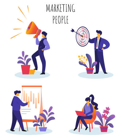 Flat Vector Illustration Marketing People Set. Written on White Background. Guy Speaks Into Loudspeaker, Man Holds in his Hands Target Darts, Girl Works on Laptop, Guy Draws on Poster.