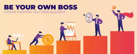 Seien Sie Ihr eigener Chef 5 Schritte zur Gründung Ihres eigenen Unternehmens. Flache Banner-Vektor-Illustration. Schritte Karrierewachstum, Mann sitzt und arbeitet auf Laptop, höchste Stufe Mann im Anzug hält Preispokal. Vektorgrafik