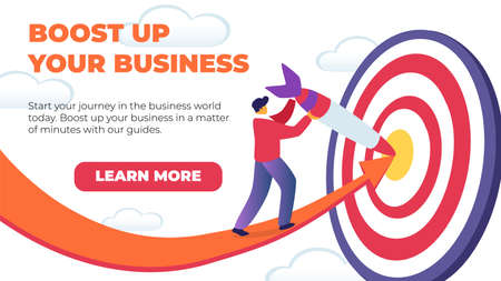 Horizontal Flat Banner Boost Up Your Business. Vector Illustration on White Background. Red Arrow Points to Hitting Target Precisely. Men Casual Dress and Cap Pulls Dirt Out Target.