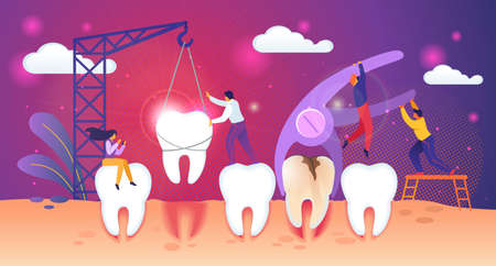 Unhealthy Tooth Removal Process. Guys Extract Dent with Caries Hole. Man Set Up Healthy Tooth in Gum with Building Crane. Tiny People Characters Work Together Concept. Cartoon Flat Vector Illustration