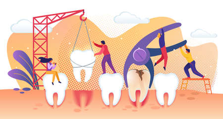 Tiny Dentist People Characters Treating Disease Teeth. Tooth Deletion and Implantation into Gum. Prevention and Treatment of Caries. Modern Dental Healthcare Treatment Cartoon Flat Vector Illustration