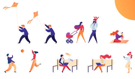 Set Flat Vector Illustration Weekend Outdoors. Man Wearing Casual Clothes Starts Kite, Family with Child Walks Stroller Along Street. Bright Sun Shines on Young Mother who Sits Rug with Child.