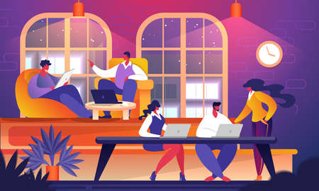 Group of Young Successful Business People, Startup Entrepreneurs Working with Gadgets on Venture in Coworking Space at Night Time. Teamwork Brainstorming Meeting. Cartoon Flat Vector Illustration.