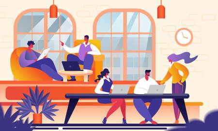 Les gens créatifs dans le bureau moderne. Groupe de jeunes gens d'affaires travaillant avec un ordinateur portable, une tablette, un smartphone, un ordinateur portable. Équipe réussie dans le coworking. Freelancers Cartoon Flat Vector Illustration.