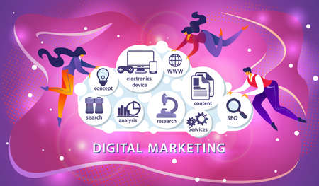 Modern People Flying Around Huge Cloud with Different Digital Marketing Icons inside on Shining Purple Ultraviolet Background. Electronic Business. Cartoon Flat Vector Illustration. Horizontal Banner