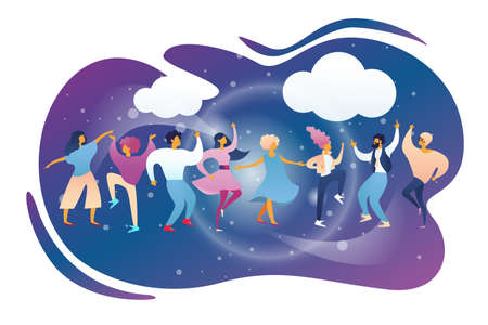 Happy People Clubbing and Dancing Disco at Night Club Stage DJ Music Party. Men and Women Characters Dance at Nightclub, Nightlife Event on Scene under Disco Lights. Cartoon Flat Vector Illustration Stock Illustratie