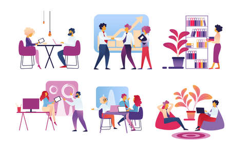 Office People Lifestyle Set Isolated on White Background. Businessmen and Businesswomen Working, Meeting, Deal and Projects, Relaxing at Coffee Break. Business Life Cartoon Flat Vector Illustration