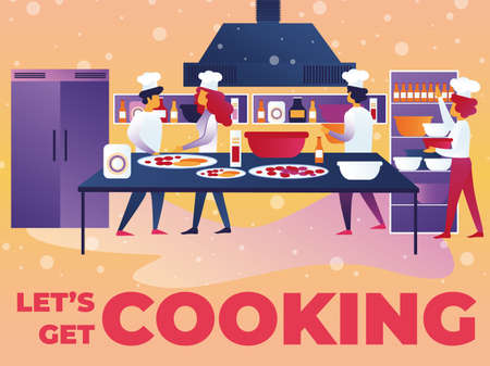 Vector Illustration Written Lets Get Cooking. Men and Women White Cooks Kitchen. Modern Equipped Kitchen Restaurant. Nutritious Dishes are Table, Ingredients and Stocks Food are Shelves.