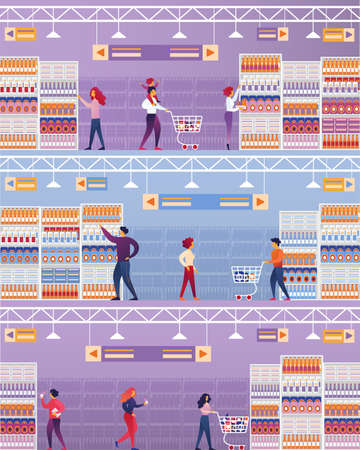 Vector Illustration People Visit Supermarket. Men and Women are Shopping Supermarket. Interior Large Trading Hall with Equipment. Shelves, Windmills and Refrigerators are Full Goods.