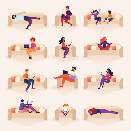 People Live and Work on Sofa Cartoon Illustration. People are Stressed Out from Family Life. Children Play on Couch. Men and Women Work Remotely Freelancing Online. Vector Illustration.