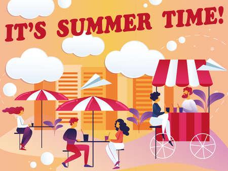Inscription son illustration vectorielle de l'heure d'été. Patio de restaurant d'aire de jeux d'été. Les hommes et les femmes s'assoient au café à des tables sous des parasols et des boissons. Plat de dessin animé. Belle vue.