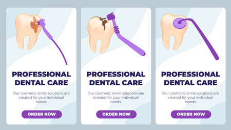 Flat Banner is Written Professional Dental Care. Thorough Daily Oral Hygiene. Removal Tartar, Tooth Filling and Caries Prevention. Vector Illustration Landing Page. Interdental Brush. Vektoros illusztráció