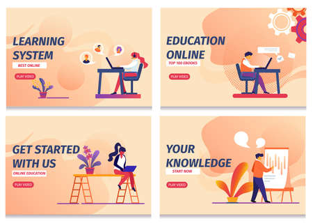 Learning System, Start Online Education, Knowledge, Get Started with Us Horizontal Banners Set. Distant Classes, Webinars, Remote in Absentia Lessons for Students. Cartoon Flat Vector Illustration