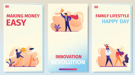 Making Money Easy, Innovation Revolution, Family Lifestyle Happy Day Mobile App Page Onboard Screen Set for Website. Business, Relations, Success. Cartoon Flat Vector Illustration, Vertical Banner Çizim