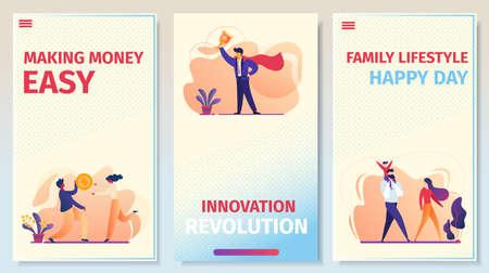 Making Money Easy, Innovation Revolution, Family Lifestyle Happy Day Página de la aplicación móvil a bordo Conjunto de pantalla para sitio web Negocios, Relaciones, Éxito. Ilustración de Vector plano de dibujos animados, banner vertical