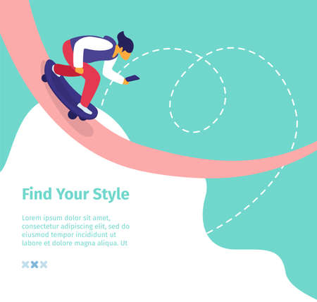Find Your Style Square Banner. Young Man Blogger Ride Skateboard with Smartphone Creating Content for Blog, Posting in Social Media Network, Online Streaming Blogging. Cartoon Flat Vector Illustration