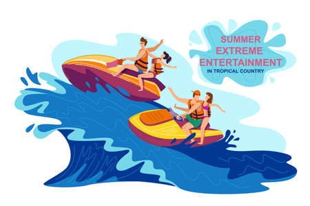 Summer Extreme Entertainment in Tropical Country. Invitation Flyer for Visiting Extreme Entertainment on Scooter. Poster Young People Life Jackets Ride Scooter on High Waves. Vector Illustration. Иллюстрация