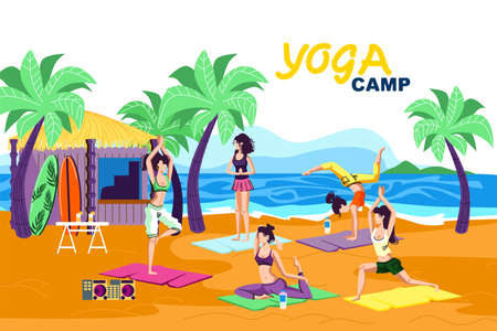 Invitation Flyer is Written Yoga Camp Cartoon. Advertising Poster Kind Camping for Women Practicing Yoga. Relaxation and Balance During Summer Holidays and Camping Holidays by Sea.