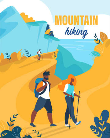 Bright Flyer est une bande dessinée écrite de randonnée en montagne. Mari et femme passent leurs vacances à la montagne. La femme utilise l'équipement pour la randonnée. L'homme porte un sac à dos. Illustration vectorielle Dessin animé.
