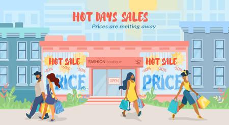 Die Preise für Werbeplakate schmelzen flach dahin. Sonderflyer Hot Days Sales in der Modeboutique. Vektor-Illustration. Männer und Frauen verlassen den Laden mit Super-Einkaufstaschen leise. Vektorgrafik