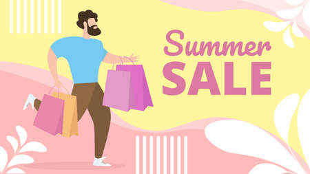 Informational Flat Banner Summer Sale Lettering. Fashionable Man  Casual Clothes Hurries to Go Shopping. Bearded Guy Runs with Packages. Final Sale in Mens Section. Vector Illustration. 向量圖像