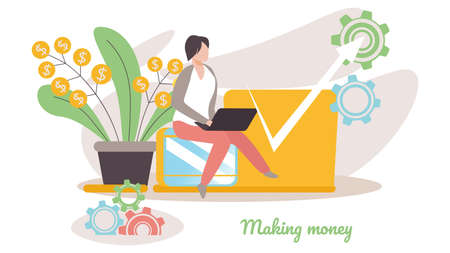 Finance Success, Money Wealth, Business Man Sitting near Money Plant with Growing Curve Arrow. Growth Financial Profit Diagram, Investment, Income, Financial Success Cartoon Flat Vector Illustration