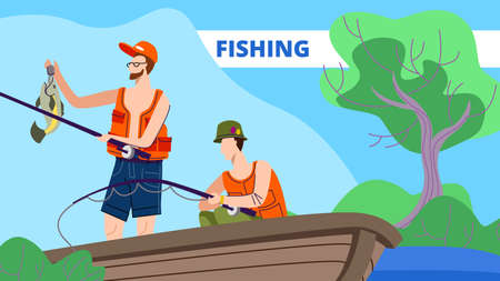 Men Fishing in Boat on Calm Lake or River at Summer Day. Relaxing Spare Time, Fishermen Friends Sitting with Rod Having Good Catch. Vacation Leisure, Relax on Nature. Cartoon Flat Vector Illustration