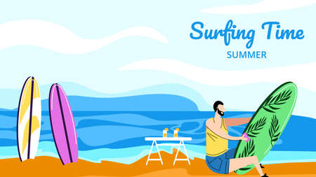 Surfing Summer Time Horizontal Banner, Young Man Surfer Polishing Surfing Board Sitting on Sandy Beach, Sportsman Prepare for Competition, Summertime Extreme Sport. Cartoon Flat Vector Illustration Иллюстрация